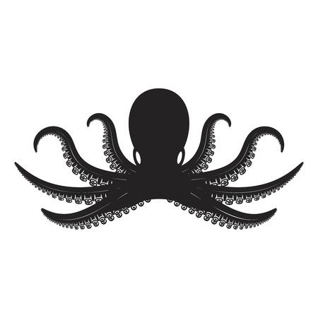 Octopus illustration isolated on white background. Design element for  label, emblem, sign.