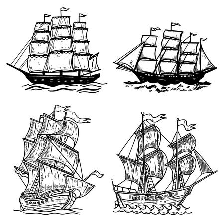 Zestaw ilustracji statków morskich na białym tle. Element projektu plakatu, koszulki, karty, godła, znaku, odznaki, logo. Grafika wektorowa