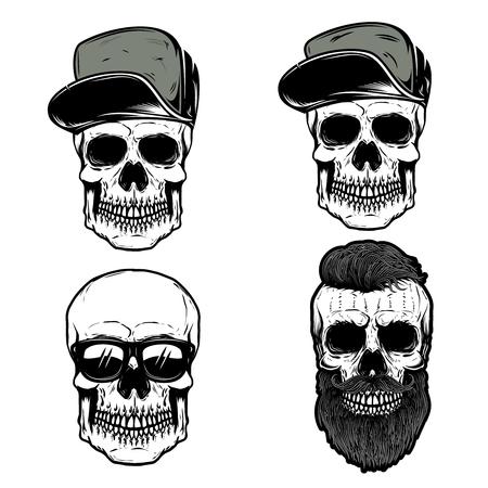 Set of skull in baseball caps. Design element for poster, t shirt, emblem, sign, badge. Vector illustration Archivio Fotografico - 108370233