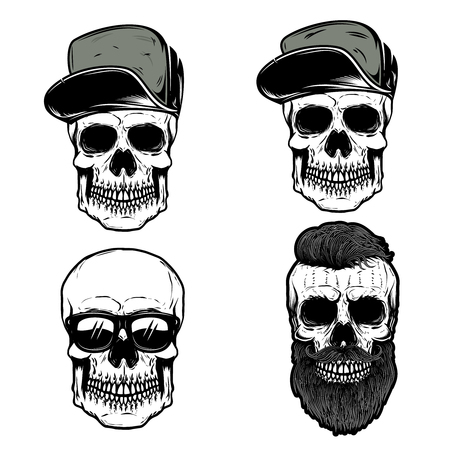 Set of skull in baseball caps. Design element for poster, t shirt, emblem, sign, badge. Vector illustration