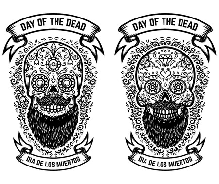 mexican sugar skulls with floral pattern background. DAY OF THE DEAD. Design element for poster, greeting card, banner, t shirt, flyer, emblem. Vector illustration