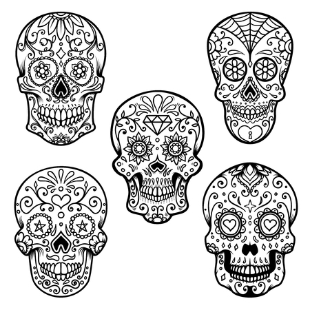 Set of colorful sugar skull isolated on white background. Day of the dead. Design element for poster, card, banner, print. Vector illustration