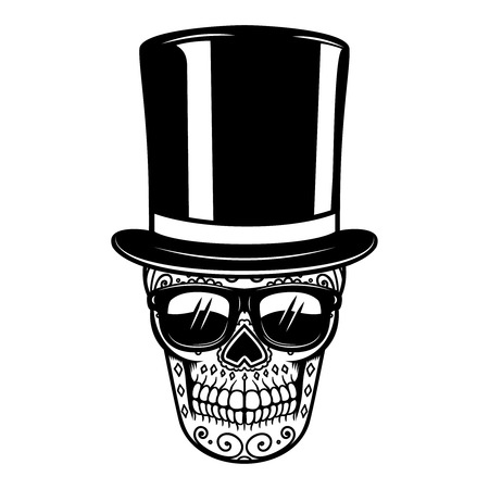 mexican sugar skull in vintage hat and sunglasses. DAY OF THE DEAD. Design element for poster, greeting card, banner, t shirt, flyer, emblem. Vector illustration