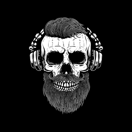 bearded skull in headphones. Design element for poster, card, emblem, sign banner. Vector image