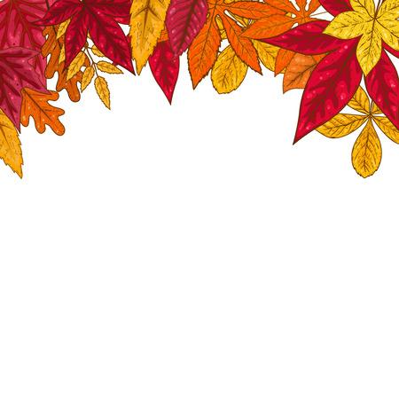 Border with autumn leaves. Design element for emblem, poster, card, banner, flyer, brochure. Vector illustration Illustration