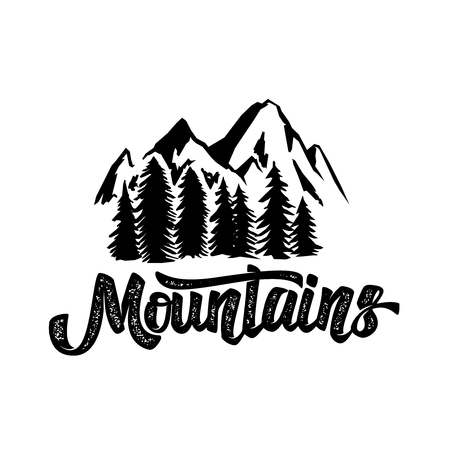 Hand draw wilderness typography poster with mountains and lettering.  artwork for hipster wear. Фото со стока - 108372283