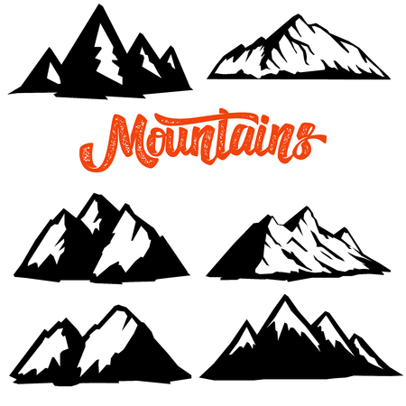 Set of mountain icons isolated on white background. Design element for  label, emblem, sign, badge, poster, t shirt.