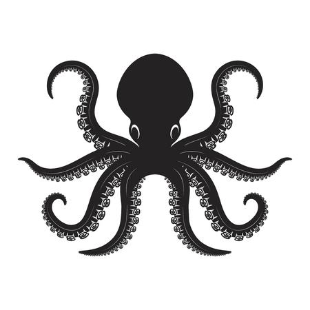Ilustración de pulpo aislado sobre fondo blanco. Elemento de diseño de etiqueta, emblema, letrero, insignia, cartel, camiseta.
