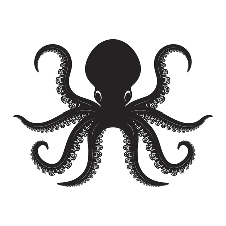 Octopus illustration isolated on white background. Design element for  label, emblem, sign, badge, poster, t shirt.