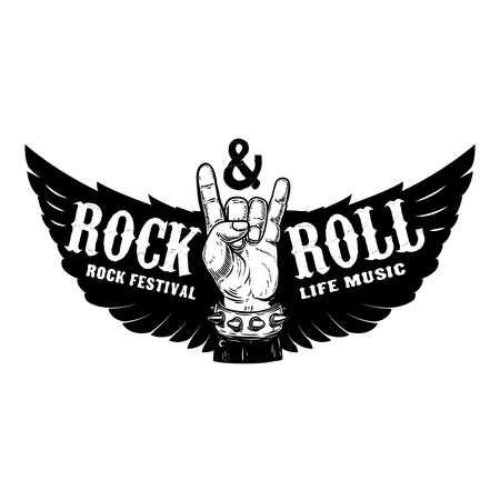 Rock festival. Human hand with rock and roll sign on background with wings.  Design element for t-shirt print, poster. Vector illustration.