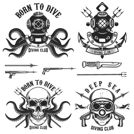 Born to dive. Set of vintage diver helmets, diver label templates and design elements. Design elements for label, emblem, sign, badge, brand mark.