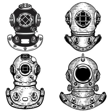 Conjunto de cascos de buzo de estilo retro. Elementos de diseño de logotipo, etiqueta, emblema, signo. Ilustración vectorial Logos