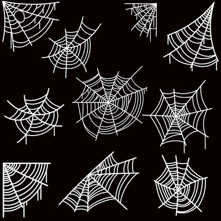 Set of halloween spider web on dark background. Design element for poster, card, banner, flyer, decoration. Vector image Stock Illustratie