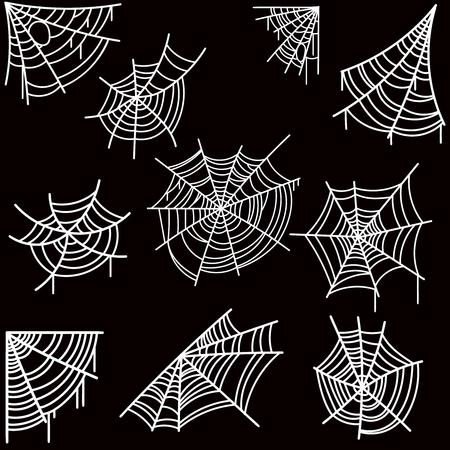 Set van halloween spinnenweb op donkere achtergrond. Ontwerpelement voor poster, kaart, banner, flyer, decoratie. Vector afbeelding