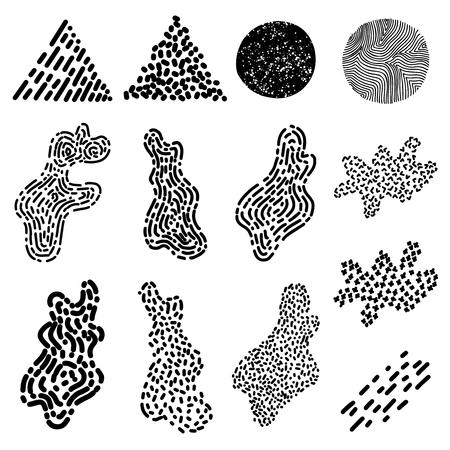 Satz von Hand gezeichneten lockigen wellenförmigen Doodle-Designelementen für Poster, Banner, Flyer, Broschüre. Vektorbild