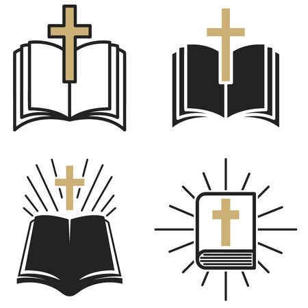 religious community. Set of Emblem with Holy Bible and cross. Design elements for label, emblem, sign, badge, brand mark.