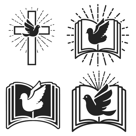 Religious community. Emblem template with dove and Holy Bible. Holy Spirit.