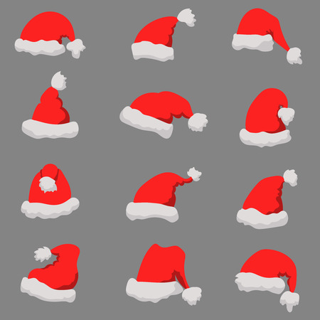 Set of Santa Claus hats Christmas theme. Design element or poster, greeting card, banner, flyer, decoration. Vector illustration