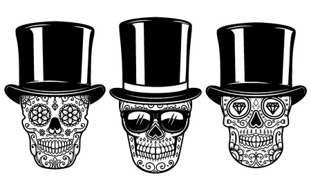 Set of mexican sugar skull in vintage hat and sunglasses. DAY OF THE DEAD. Design element for poster, greeting card, banner, t shirt, flyer, emblem. Vector illustration