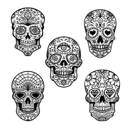 Satz des Zuckerschädels lokalisiert auf weißem Hintergrund. Tag der Toten. Gestaltungselement für Poster, Karten, Banner, Druck.