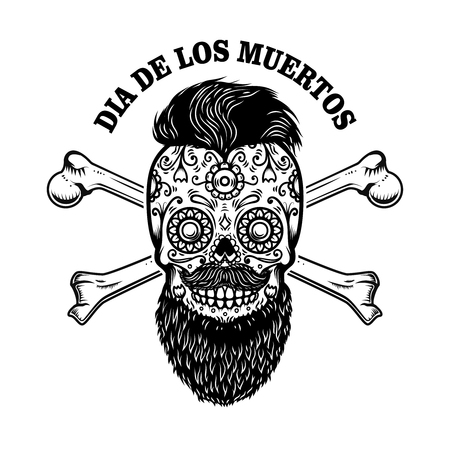 Bearded mexican sugar skull with crossbones. DAY OF THE DEAD. Design element for poster, greeting card, banner, t shirt, flyer, emblem. Vector illustration