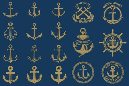 Set di emblemi nautici ed elementi di design in stile vintage. Etichette di ancoraggi impostate su sfondo blu.