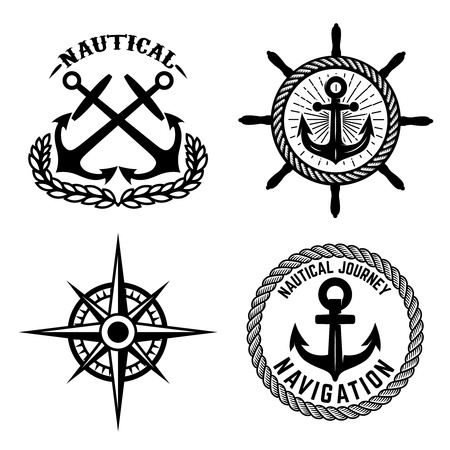 Set of emblems with anchors. Design element for label, sign, t shirt.