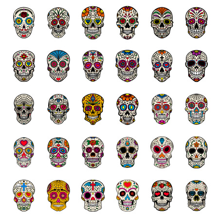 Big set of mexican sugar skulls isolated on white background. Design element for poster, card, t shirt. Vector image Stock Illustratie