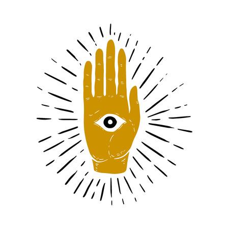 Hand drawn illustration of sunburst, hand, and all seeing eye symbol. Eye of Providence. Masonic symbol. Vector image