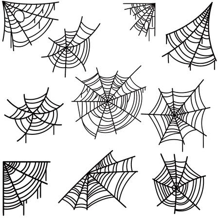 Satz Halloween-Spinnennetz auf hellem Hintergrund. Gestaltungselement für Poster, Karte, Banner, Flyer, Dekoration. Vektorbild Vektorgrafik