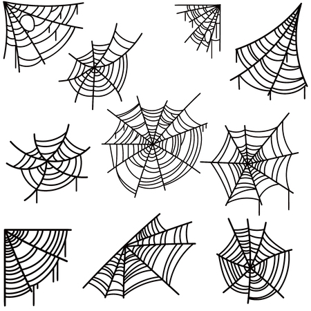 Set of halloween spider web on light background. Design element for poster, card, banner, flyer, decoration. Vector image Illustration