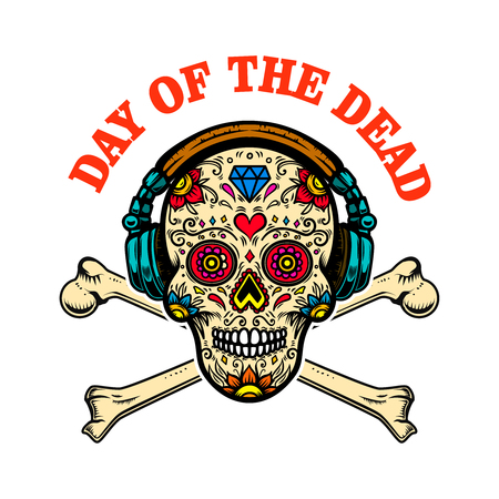 mexican sugar skull with headphones and crossbones. DAY OF THE DEAD. Design element for poster, greeting card, banner, t shirt, flyer, emblem.