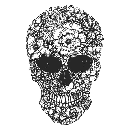 Hand Drawn Human Skull Made from flowers. Botany cranium. Design element for poster, t shirt. Vector illustration Archivio Fotografico - 107716355