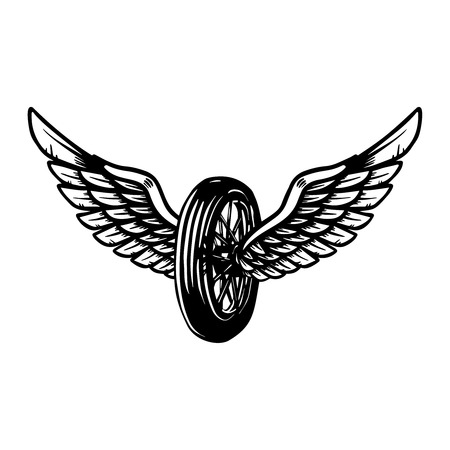 Hand drawn wheel with wings illustration isolated on white background. Design element for poster, card, banner, sign, emblem, t shirt.