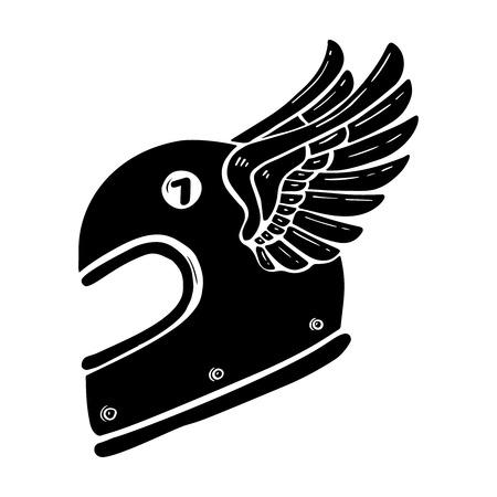 Casque de course dessiné main avec illustration d'ailes isolé sur fond blanc. Élément de design pour affiche, carte, bannière, signe, emblème, t-shirt. Illustration vectorielle