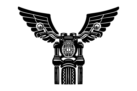 Hand drawn motorcycle illustration with wings. Design element for  label, emblem, sign, badge, poster, t shirt.
