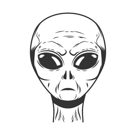 Illustration of space alien head on white background. Design element for logo, label, emblem, sign, poster, t shirt. Vector image