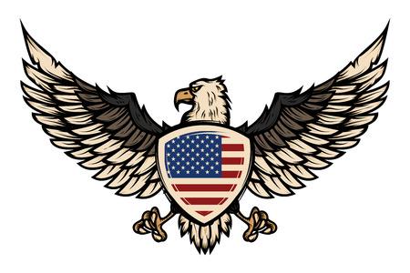 Illustration of eagle with american flag. Design element for poster, flyer, emblem, sign. Vector illustration. Illustration