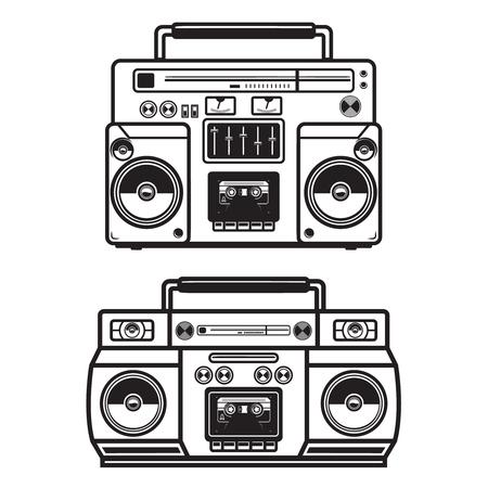 Set of boombox illustrations on white background. Design element for logo, label, emblem, sign, badge, poster, t shirt. Vector image