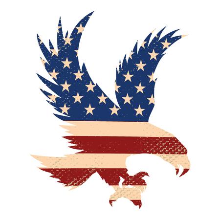 Silhouette d'aigle sur le fond du drapeau usa. Élément de design pour affiche, carte postale. Illustration vectorielle.
