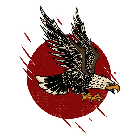 Illustration of eagle in old school tattoo style. Design element for poster, flyer, emblem, sign. Vector illustration.