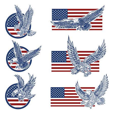 Ensemble des emblèmes avec des aigles sur fond de drapeau américain. Éléments de conception pour le logo, l'étiquette, l'emblème, le signe. Illustration vectorielle Logo