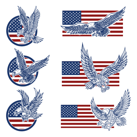 Set of the emblems with eagles on usa flag background. Design elements for logo, label, emblem, sign. Vector illustration Vectores