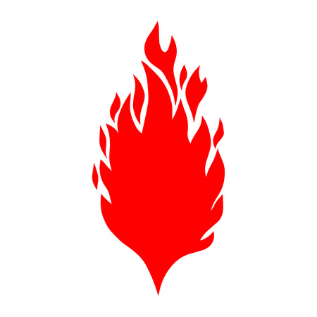 Hand drawn illustration of fire on white background. Design element for logo, label, emblem, sign, poster, t shirt. Vector image Ilustração