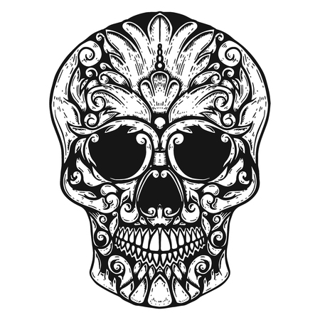 Hand Drawn Human Skull Made floral shapes. Design element for poster, t shirt. Vector illustration