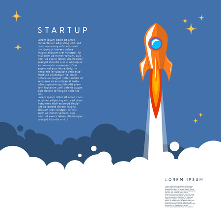 Startup. rocket launch illustration in cartoon style. Vector image