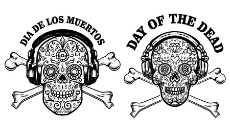 Set of mexican sugar skull with headphones and crossbones. DAY OF THE DEAD. Design element for poster, greeting card, banner, t shirt, flyer, emblem.