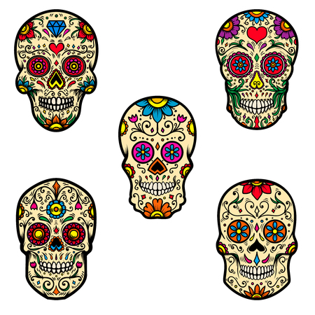 Set of colorful sugar skull isolated on white background. Day of the dead. Design element for poster, card, banner, print. Vector illustration Stock Vector - 110123139