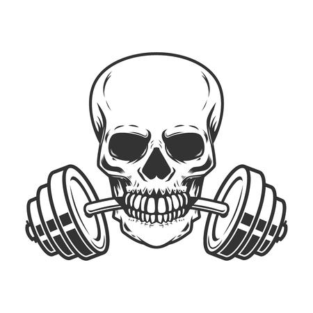 Cráneo con barra en los dientes Elemento de diseño para etiqueta, emblema, signo, insignia, cartel, camiseta.