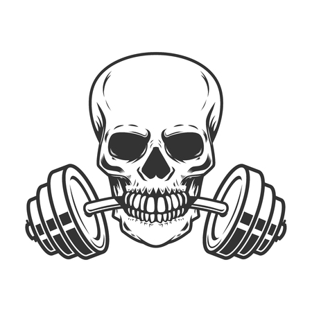 Skull with barbell in teeth.Design element for  label, emblem, sign, badge, poster, t shirt. 向量圖像